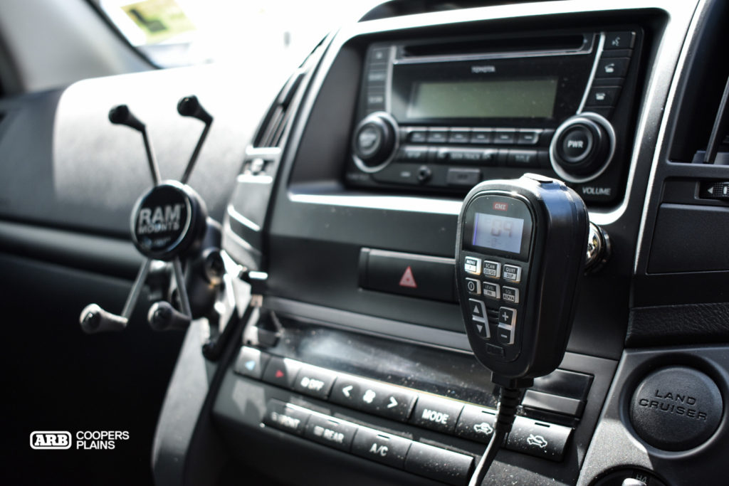GME offer the best communication products on the market. All controls are on the handset allowing the rest of the unit to be mounted under the dash. The RAM Mounts holds onto the Hema Maps navigator with power cables accessible immediately behind the device.